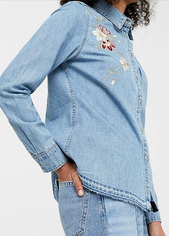 Вышитый рубашка джинсовая