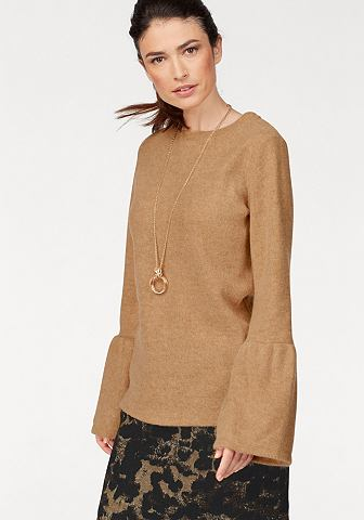 Пуловер трикотажный с колокольчиковидные рукава