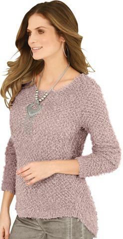 Пуловер в haarigem Flauschgarn