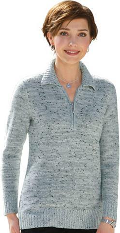 Пуловер с воротник поло и замок