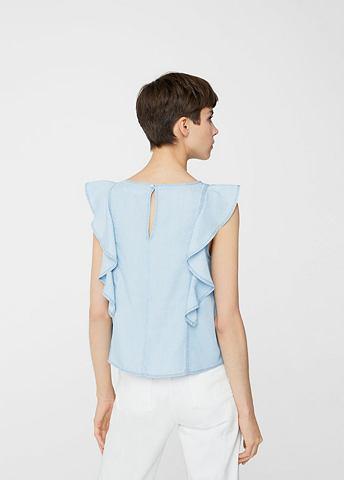 Джинсовая блузка с оборка