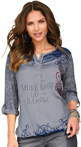 Блузка-рубашка с блестящие камешки