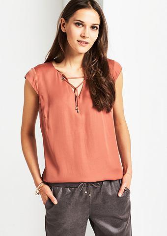 Изящный блузка сатиновая с декоративны...