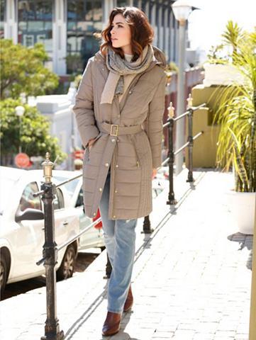 Пальто короткое в легко блестящий каче...
