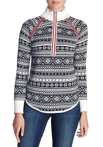 Жаккард пуловер с замок