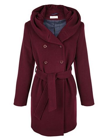 Шерстяное короткое пальто с ремень