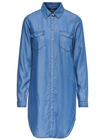 Длиная Lässiges рубашка джинсовая...