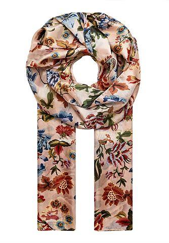 Шаль шелковая с цветочный узор