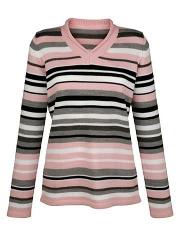 Пуловер с Rollkante на с V-образным вы...