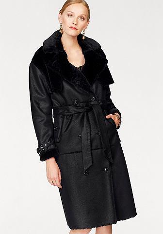 Пальто из искусственной кожи с Kunstpelzkragen