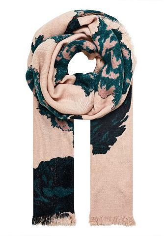 Шарф зимний с цветочным узором