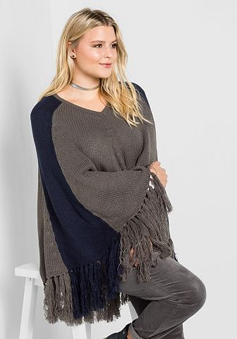 Sheego вязаное пончо