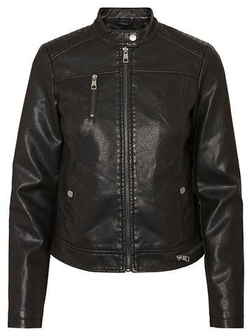 Короткий из искусственной кожи куртка