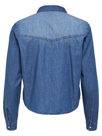 Короткое рубашка джинсовая