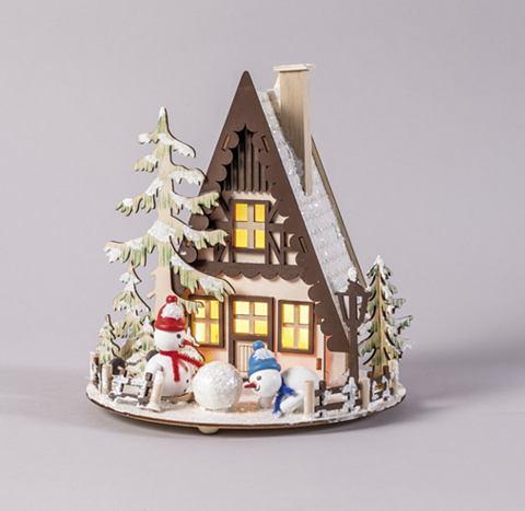 Schneemannhütte beleuchtet