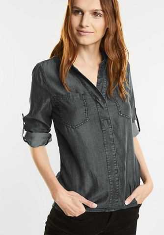 Блузка с длинным рукавом в denim стиль...