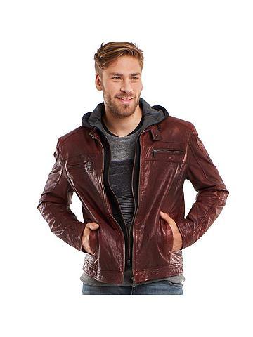 Куртка кожаная с Jerseyinlet