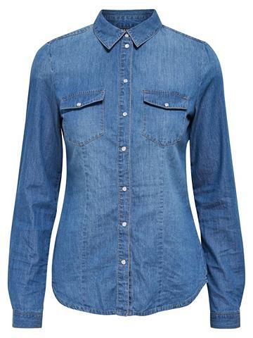 Одноцветный рубашка джинсовая