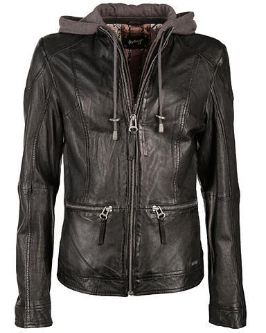 Куртка кожаная с трикотаж капюшон &raq...
