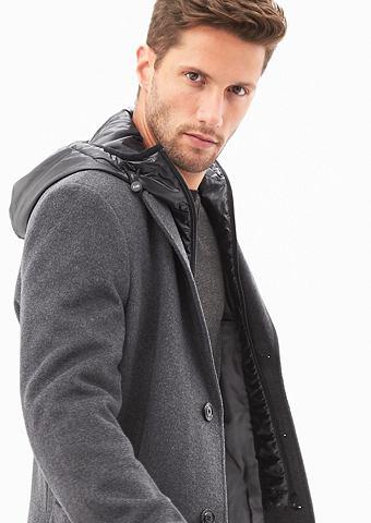 Узкий форма: пальто шерстяное с Insert...