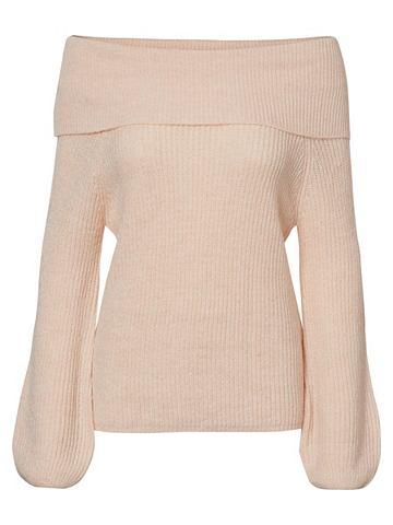 С открытыми плечами пуловер трикотажны...