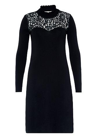 Платье трикотажное с кружевом и воротн...