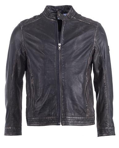 JCC Куртка кожаная с модный воротник стойк...