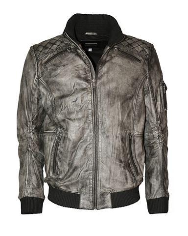 Куртка кожаная в модный grau-antik сти...