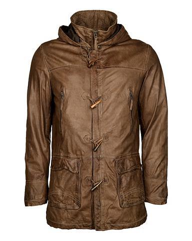 JCC Куртка кожаная с красивый воротник сто...