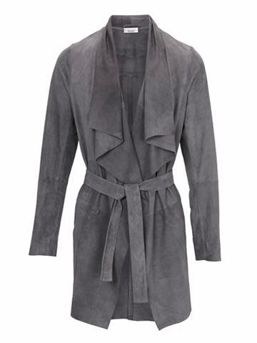 Пальто кожаное Ziegenvelours с украшен...