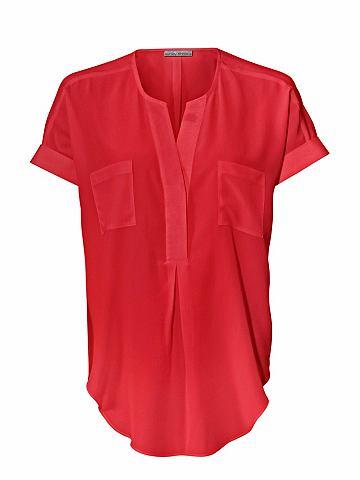 Блузка из шелка с aufgesetzten карман