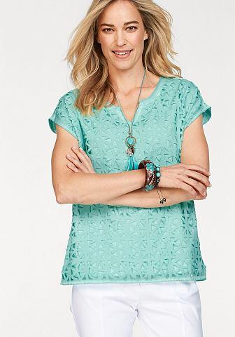 Блуза с круглым вырезом майка с графический узор blickdicht unterlegt