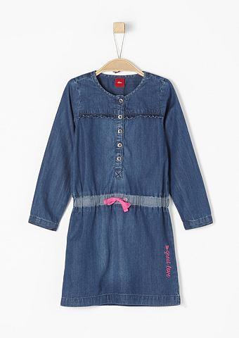 Лёгкий платье джинсовое с оборка для M...