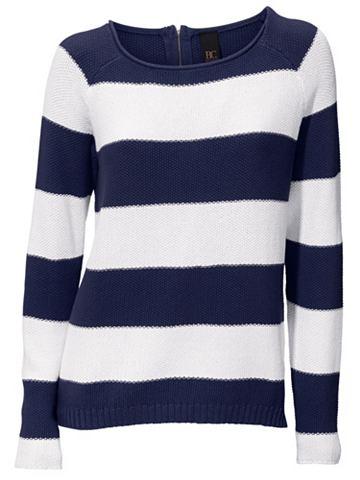 Пуловер с круглым вырезом полосатая
