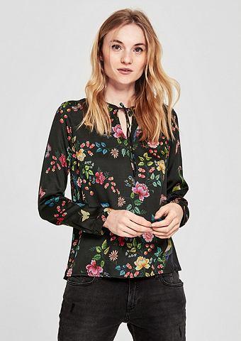 Блузка сатиновая с цветочный узор