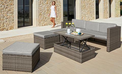 Sodo baldų komplektas »Lagos Premium« 13-tlg. 3er-Sofa 3 Kojų kėdutė stalas Polyrattan braun