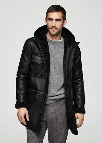 Пальто в Biker-Optik с карман