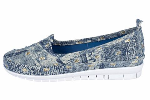 Туфли-слиперы в имитация джинса