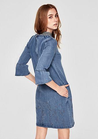 Вышитый джинсовое платье с c воланами