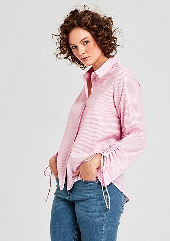 Блузка в полоску с морщинистыми рукава...