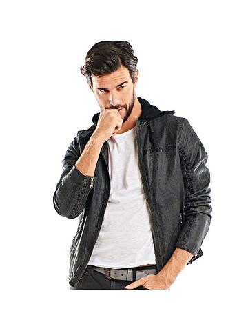 EMILIO ADANI Куртка кожаная с съемный капюшон