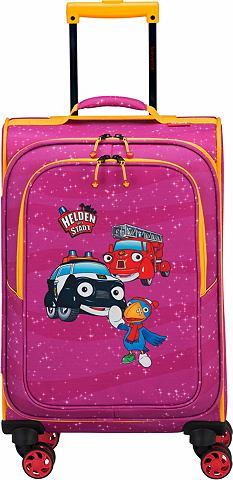 Текстильный чемодан с 4 колесики для д...