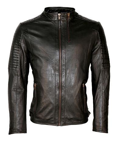 Куртка кожаная с воротник стойка и отс...
