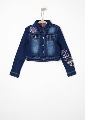 Короткий куртка джинсовая с цветочный ...