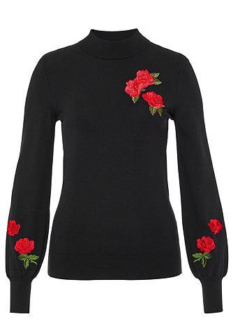 Пуловер с воротником-стойкой с вышитый...