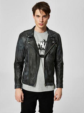 Черного цвета Байкер-стиль куртка кожа...