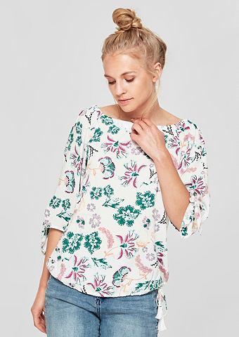 Блузка в стиле кармен с цветочный узор...