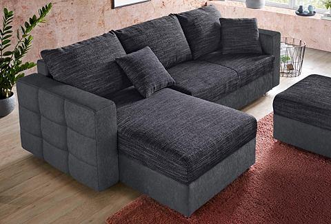 Kampinė sofa su miegojimo funkcija ir dėže patalynei