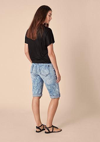 Curvy Зауженные шорты джинсовые с узор...