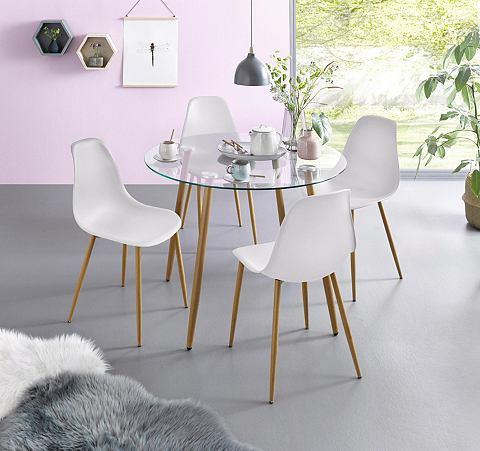 Essgruppe Runder Stiklinis stalas su 4 kėdėmis